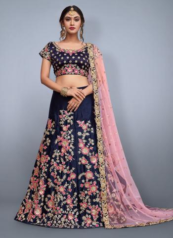 Navy Blue Velvet Silk Wedding Wear Heavy Embroidery Work Lehenga Choli