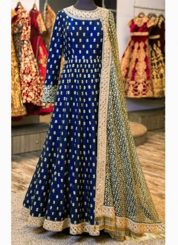 Neavy Blue Banglori Silk Wedding Wear Butti Work Anarkali Style