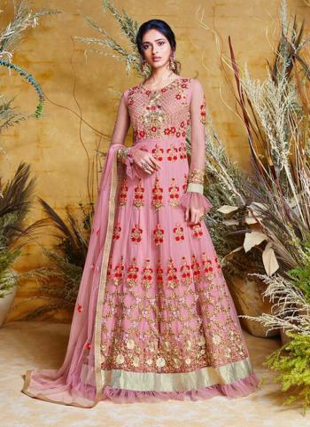 Floor Length Embroidery Work Net Pink Anarkali Suit