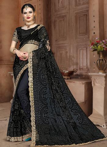 Net Wedding Wear Black Lace Work Saree
