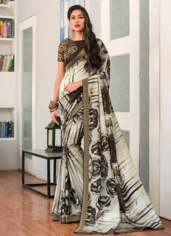 Off White Jacqaurd Silk Casual Wear Printed Work Saree