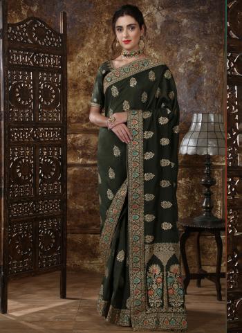 Olive Green Silk Wedding Wear Cutdana Work Saree