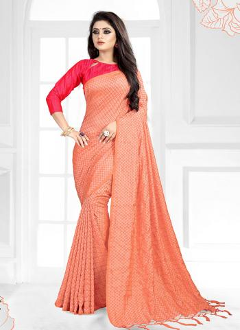 Orange Art Silk Regular Wear Checks Printed Saree