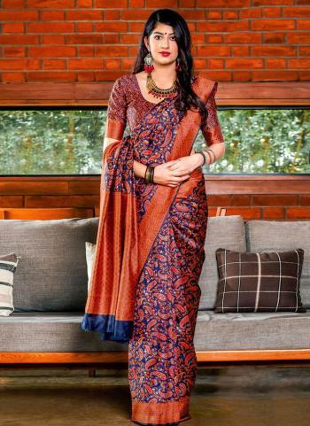 Orange Banarasi Silk Wedding Wear Printed Work Saree