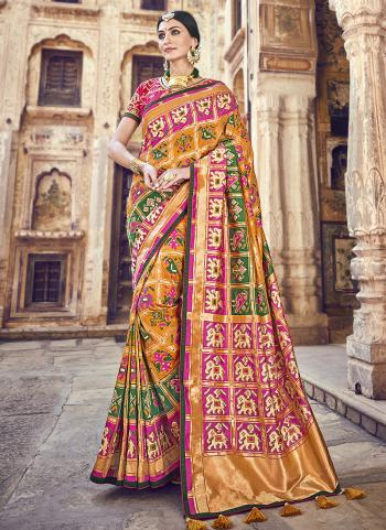 Orange Banarasi Silk Wedding Wear Weaving Saree