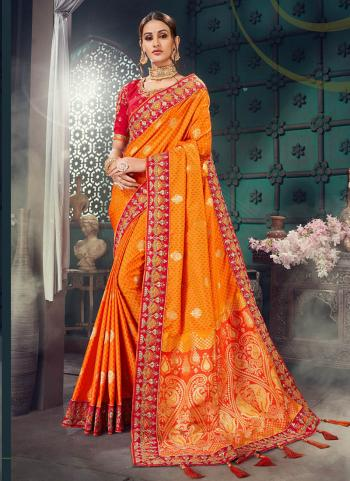 Orange Bhagalpuri Silk Wedding Wear Embroidery Work Saree