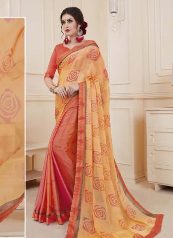 Orange Brasso Daily Wear Printed Work Saree