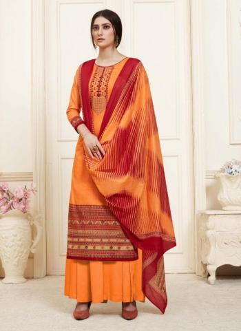 Orange Cambric Regular Wear Printed Work Palazzo Suit