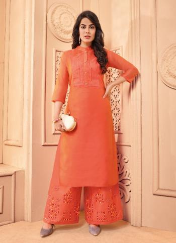 Orange Chanderi Festival Wear Lining Kurti With Palazzo