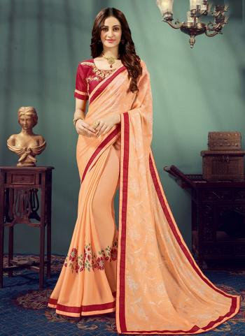 Orange Chiffon Regular Wear Embroidery Work Saree