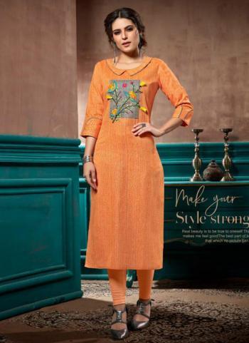 Orange Cotton Linen Regular Wear Hand Work Straight Kurti