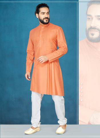 Cotton Orange Party Wear Plain Kurta Pajama