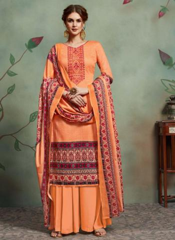 Orange Cotton Regular Wear Embroidery Work Palazzo Suit