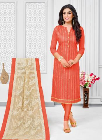 Orange Cotton Satin Regular Wear Printed Work Churidar Style