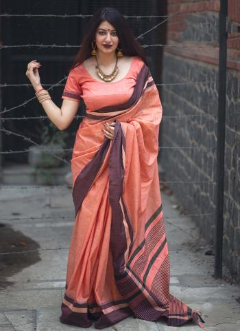 Orange Lace Work Cotton Slub Casual Wear Saree