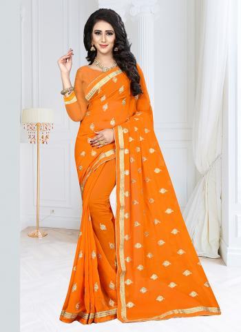 Orange Georgette Daily Wear Embroidery Work Saree