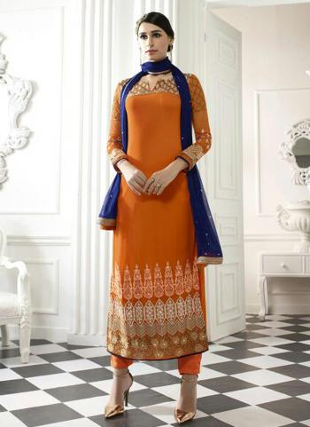 Orange Georgette Party Wear Embroidered Work Straight Suit