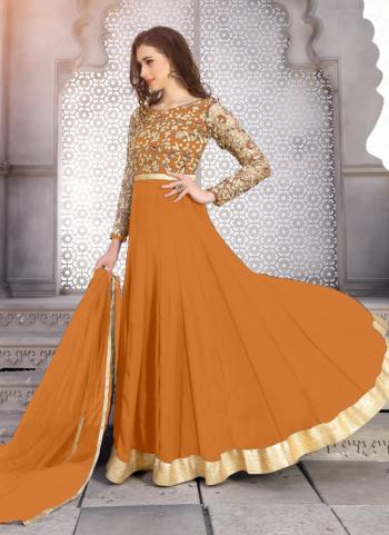 Orange Georgette Party Wear Embroidery Work Anarkali Suit