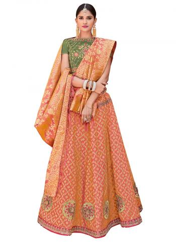 Orange Jacqaurd Silk Wedding Wear Embroidery Work Lehenga Suit