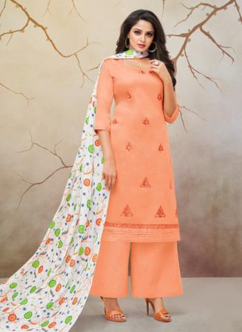 Orange Jam Cotton Regular Wear Embroidery Work Palazzo Suit