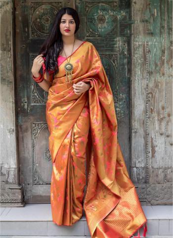 Orange Party Wear Embroidery Work Kanjivaram Silk Saree