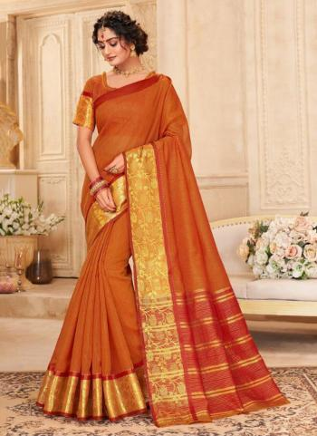 Orange Khadi Silk Festival Wear Border Work Saree