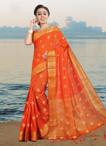 Orange Linen Casual Wear Zari Butti Work Saree