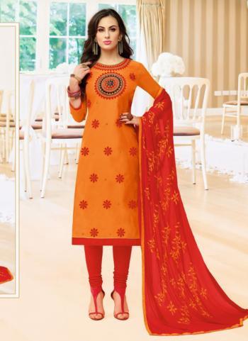 Orange Modal Cotton Office Wear Hand Embroidery Work Churidar Style