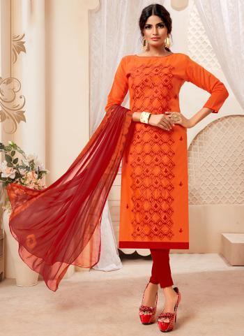 Orange Modal Silk Daily Wear Embroidery Work Churidar Suit