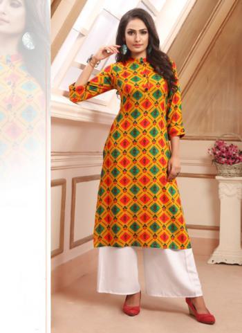 Orange Rayon Daily Wear Printed Work Kurti