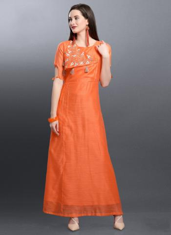 Orange Silk Festival Wear Hand Work Kurti