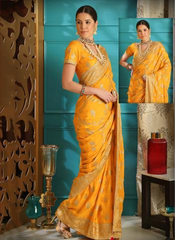 Orange Silk Reception Wear Embroidery Work Saree