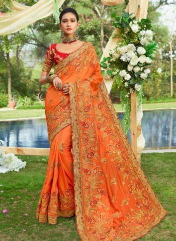 Orange Silk Reception Wear Heavy Embroidery Work Saree