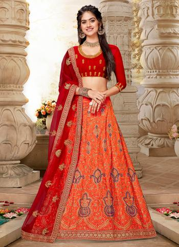 Orange Silk Traditional Wear Embroidery Work Lehenga Choli