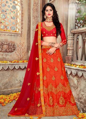 Orange Silk Wedding Wear Embroidery Work Lehenga Choli