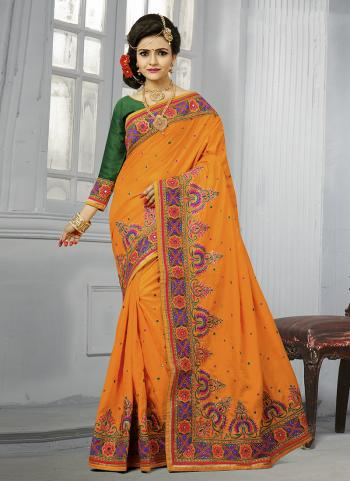 Orange Silk Wedding Wear Thread Work Saree