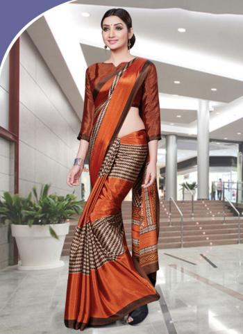 Orange Turkey Silk Casual Wear Printed Work Uniform Saree