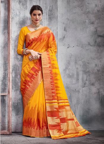 Orange Weaving Silk Festival Wear Border Work Saree