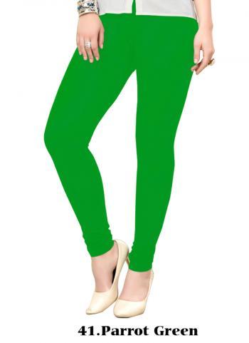 Parrot Green Cotton Regular Wear Plain Leggins