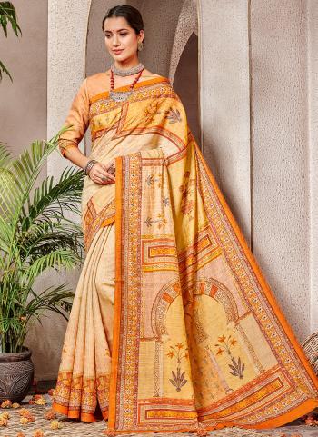 Peach Banarasi Silk Party Wear Printed Work Saree