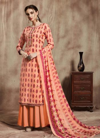 Peach Cambric Cotton Regular Wear Printed Work Sharara Suit