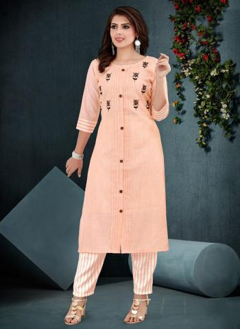 Peach Cotton Casual Wear Work Kurti