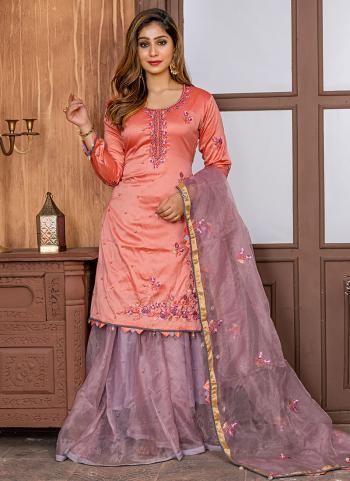 Fancy Peach Wedding Wear Embroidery Work Sharara Suit