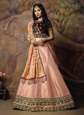 Peach Jacqaurd Silk Reception Wear Thread Work Lehenga Choli