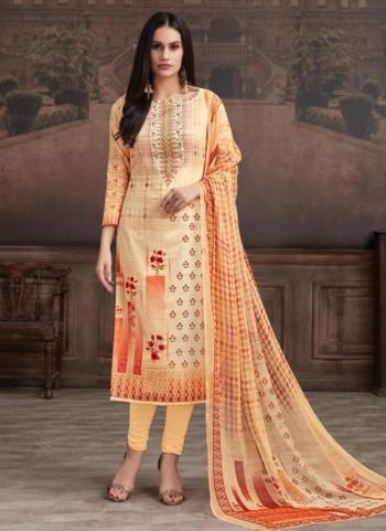Peach Jam Cotton Casual Wear Hand Work Churidar Suit