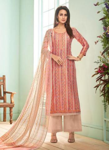 Peach Jam Satin Regular Wear Printed Work Palazzo Suit