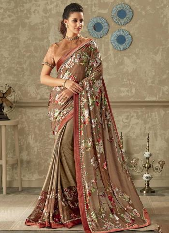 Peach Lycra Reception Wear Lace Work Saree