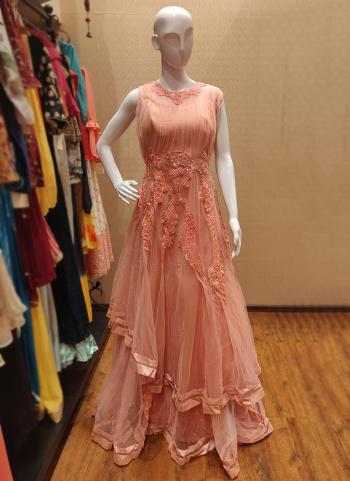 Peach Net Festival Wear Hand Work Gown