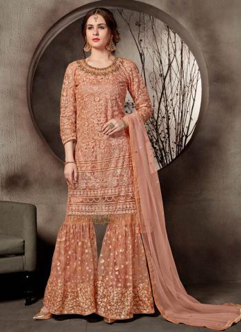 Peach Heavy Embroidery Work Net Wedding Wear Sharara Suit