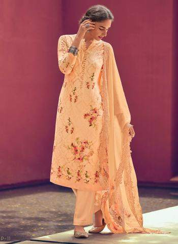 Peach Pashmina Festival Wear Embroidery Work Palazzo Suit